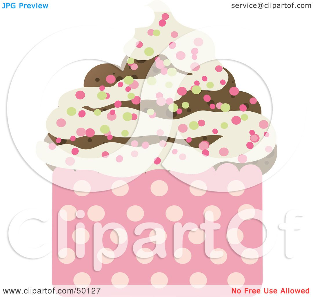Vanilla Cupcake With Sprinkles Clipart