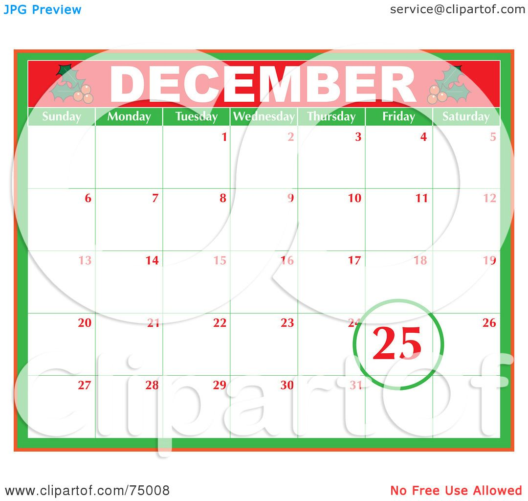 Calendar Holiday Clip Art : Royalty free rf clipart illustration of a christmas