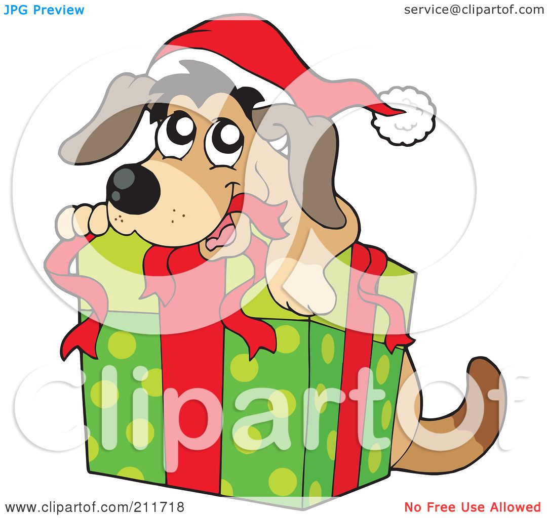 Royalty-Free (RF) Clipart Illustration of a Christmas Dog ...