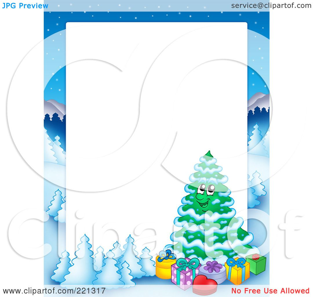 Royalty Free RF Clipart Illustration Of A Christmas Frame Border Winter Landscape And Tree Around White Space