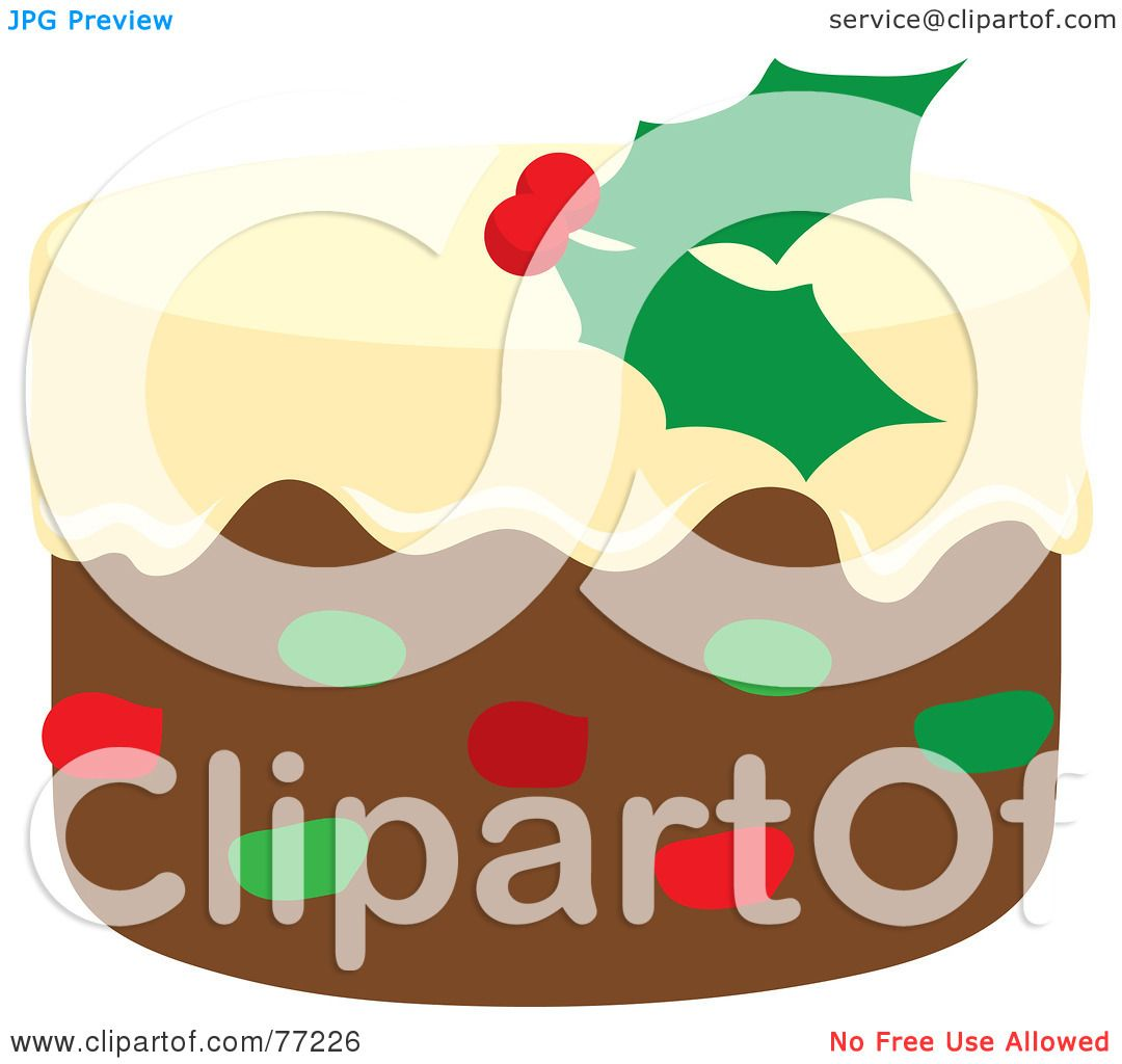 Royalty-Free (RF) Clipart Illustration of a Christmas Fruit Cake ...