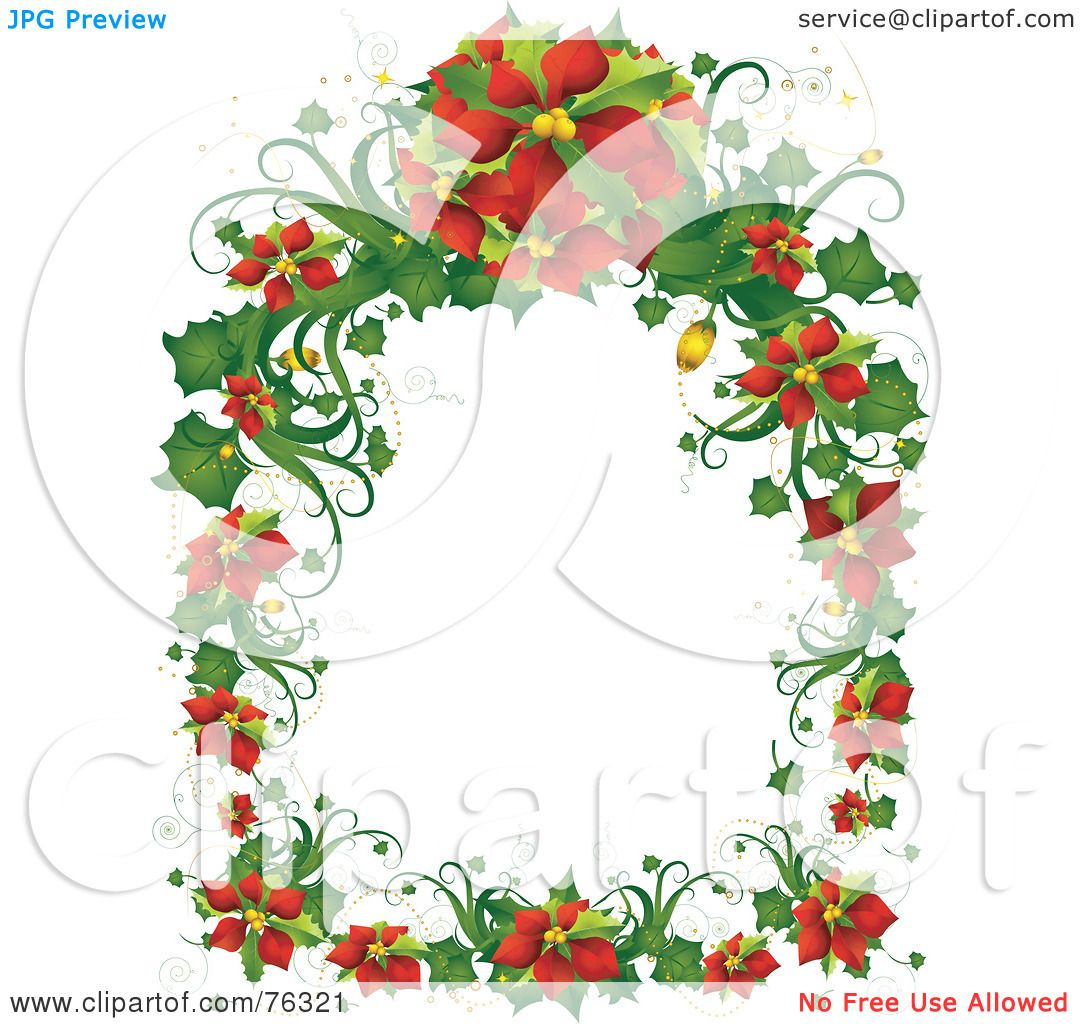 Royalty free rf clipart illustration of a christmas for Poinsettia christmas tree frame