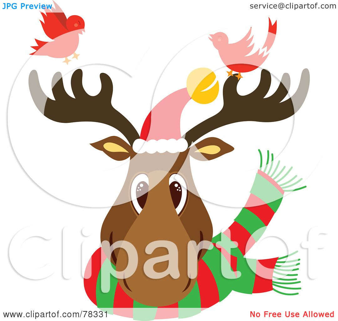 Royalty Free RF Clipart Illustration Of A Christmas Reindeer Head Wearing Scarf And Santa Hat With Two Red Birds By Cherie Reve