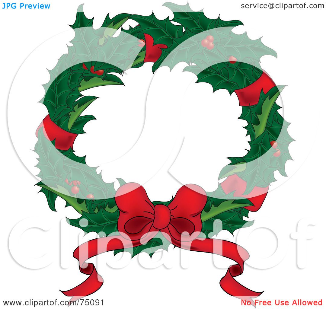 Royalty-Free (RF) Clipart Illustration of a Christmas Wreath Of ...