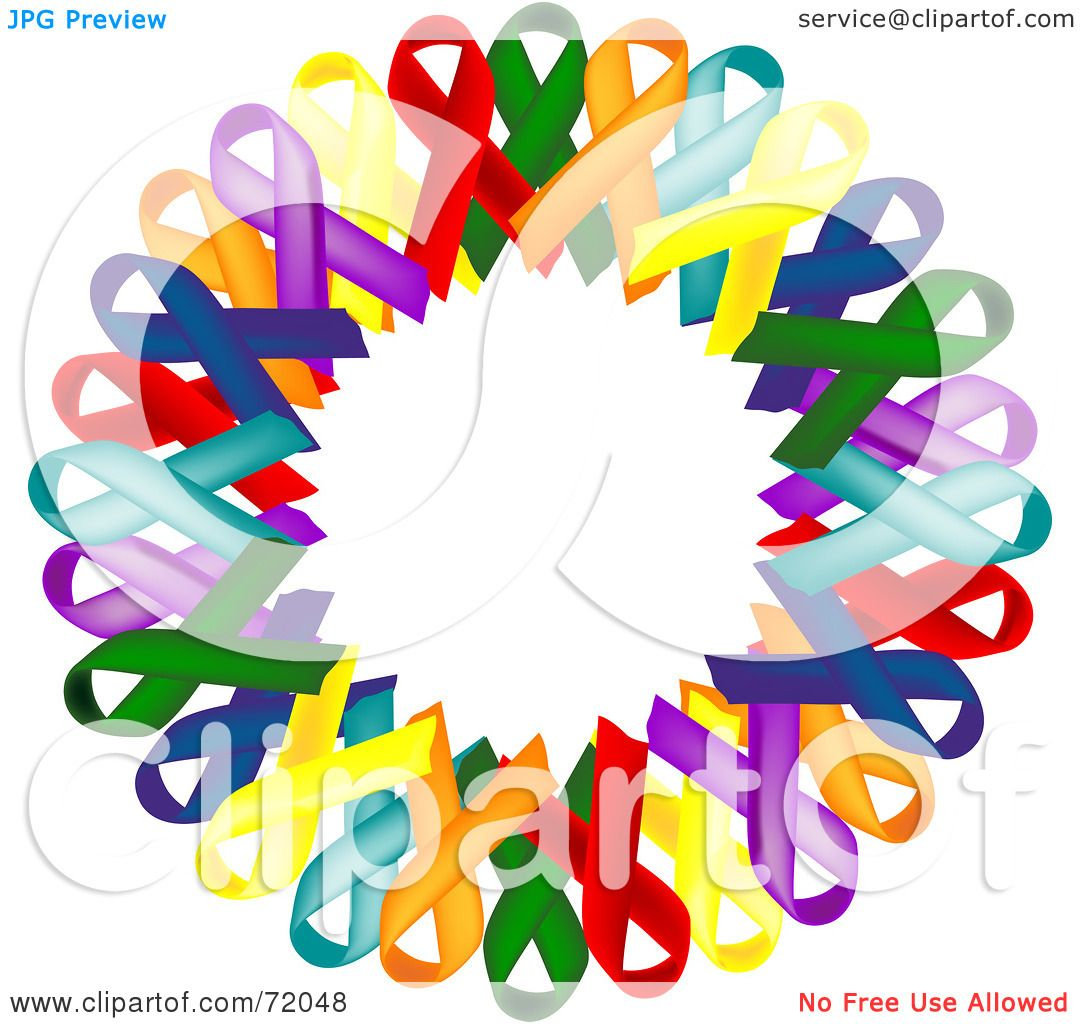 royalty free  rf  clipart illustration of a colorful Cancer Ribbon Outline Vector Ribbon Vector Black