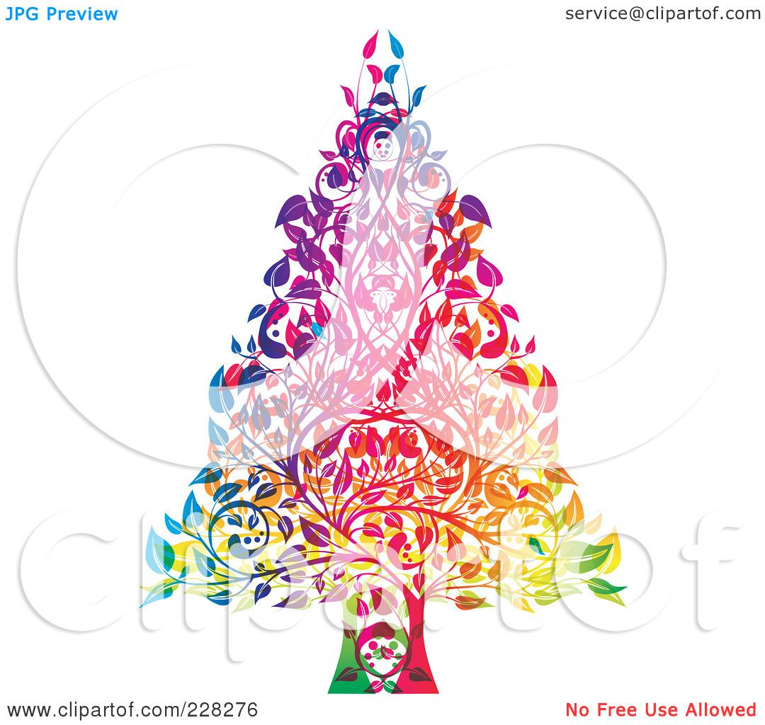 ... of a Colorful Christmas Tree Made Of Leaves And Branches by MilsiArt