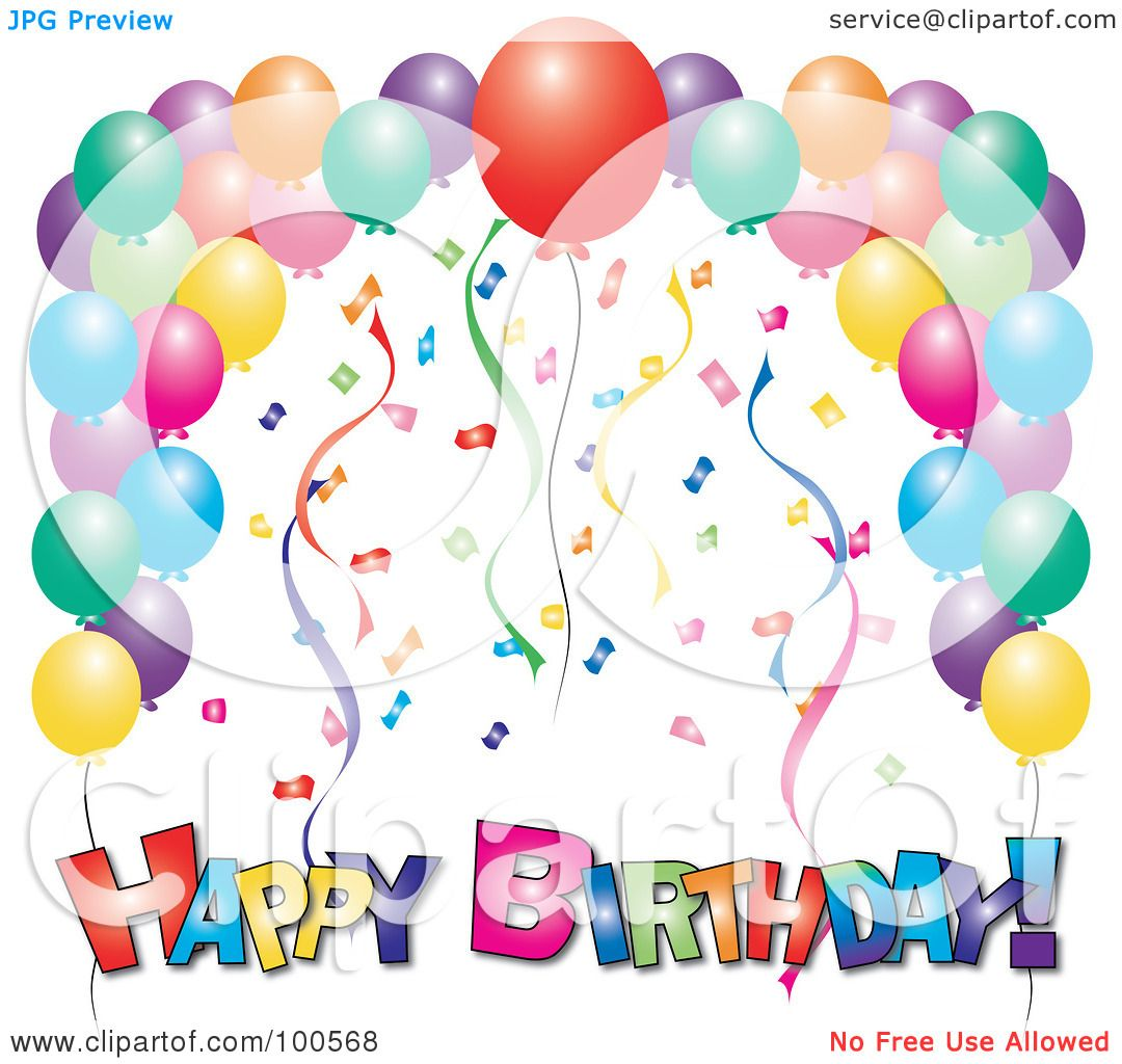 Birthday Clip Art And Free Birthday Graphics: Royalty-Free (RF) Clipart Illustration Of A Colorful Happy