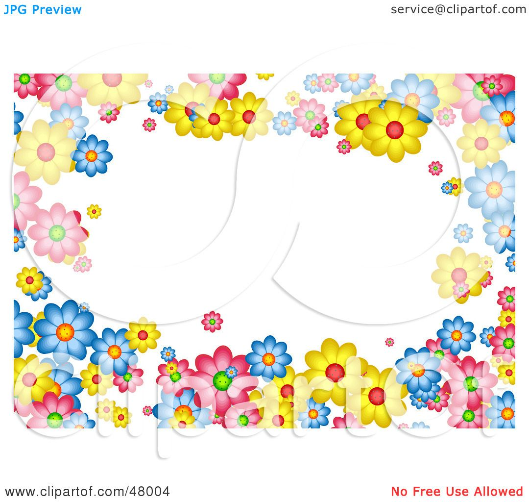 Royalty-Free (RF) Clipart Illustration of a Colorful ... Colorful Flowers Clipart