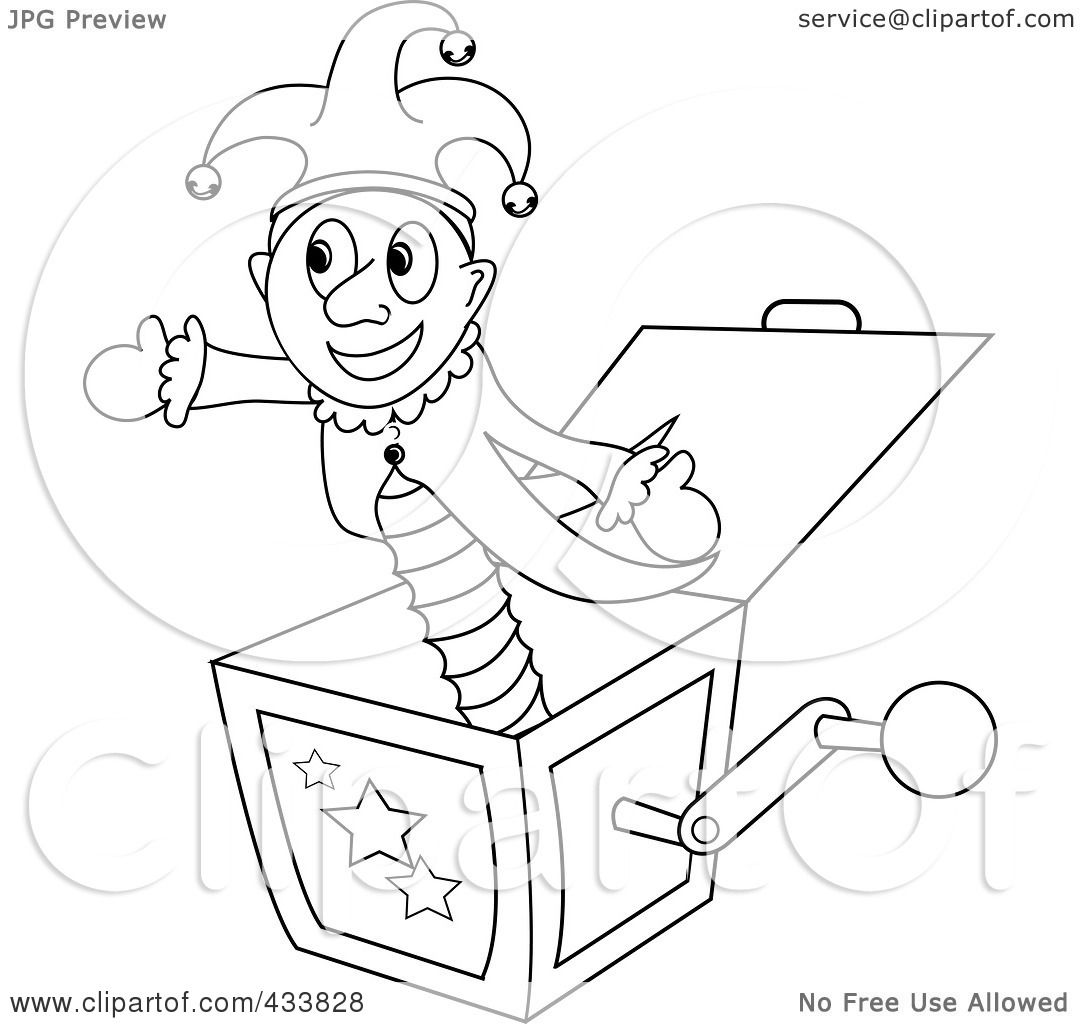 royalty free rf clipart illustration of a coloring page ouline of a joker jack in the box toy. Black Bedroom Furniture Sets. Home Design Ideas