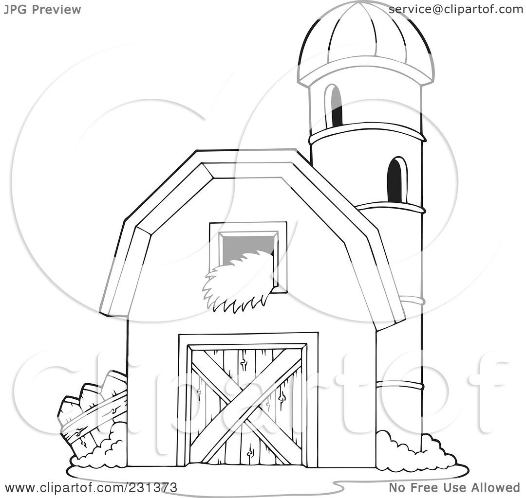 Coloring page of a barnyard - Royalty Free Rf Clipart Illustration Of A Coloring Page Outline Of A Barnyard Granary By Visekart
