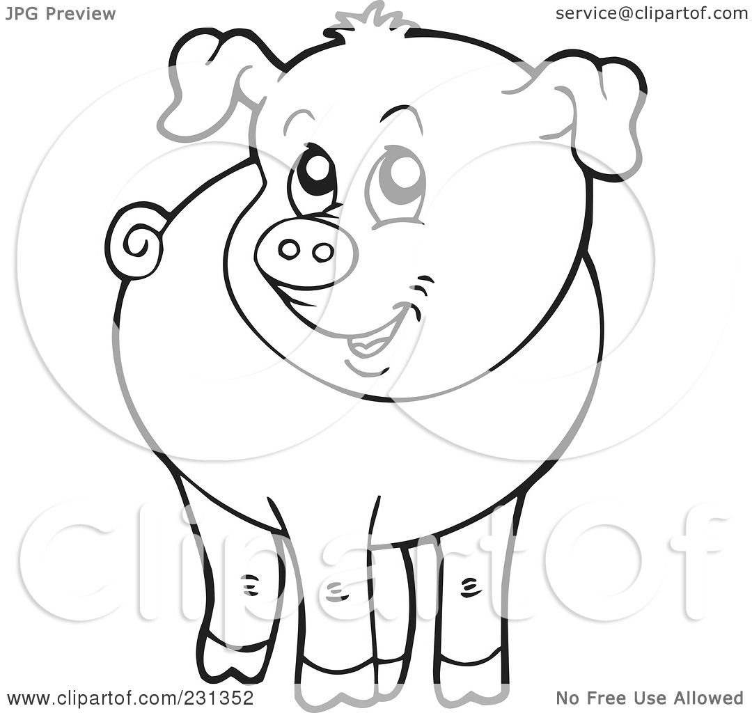 Coloring page of a barnyard - Royalty Free Rf Clipart Illustration Of A Coloring Page Outline Of A Barnyard Pig By Visekart