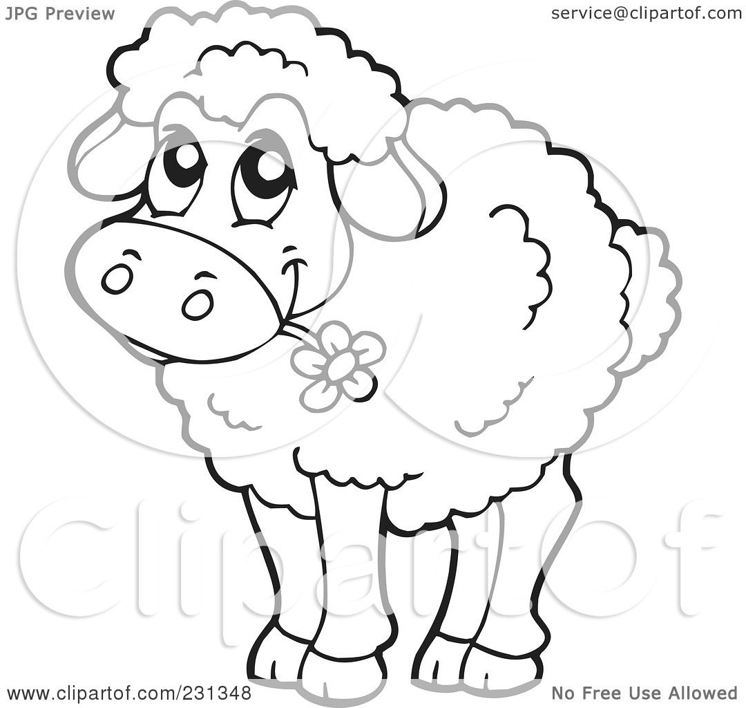 Coloring page of a barnyard - Royalty Free Rf Clipart Illustration Of A Coloring Page Outline Of A Barnyard Sheep By Visekart