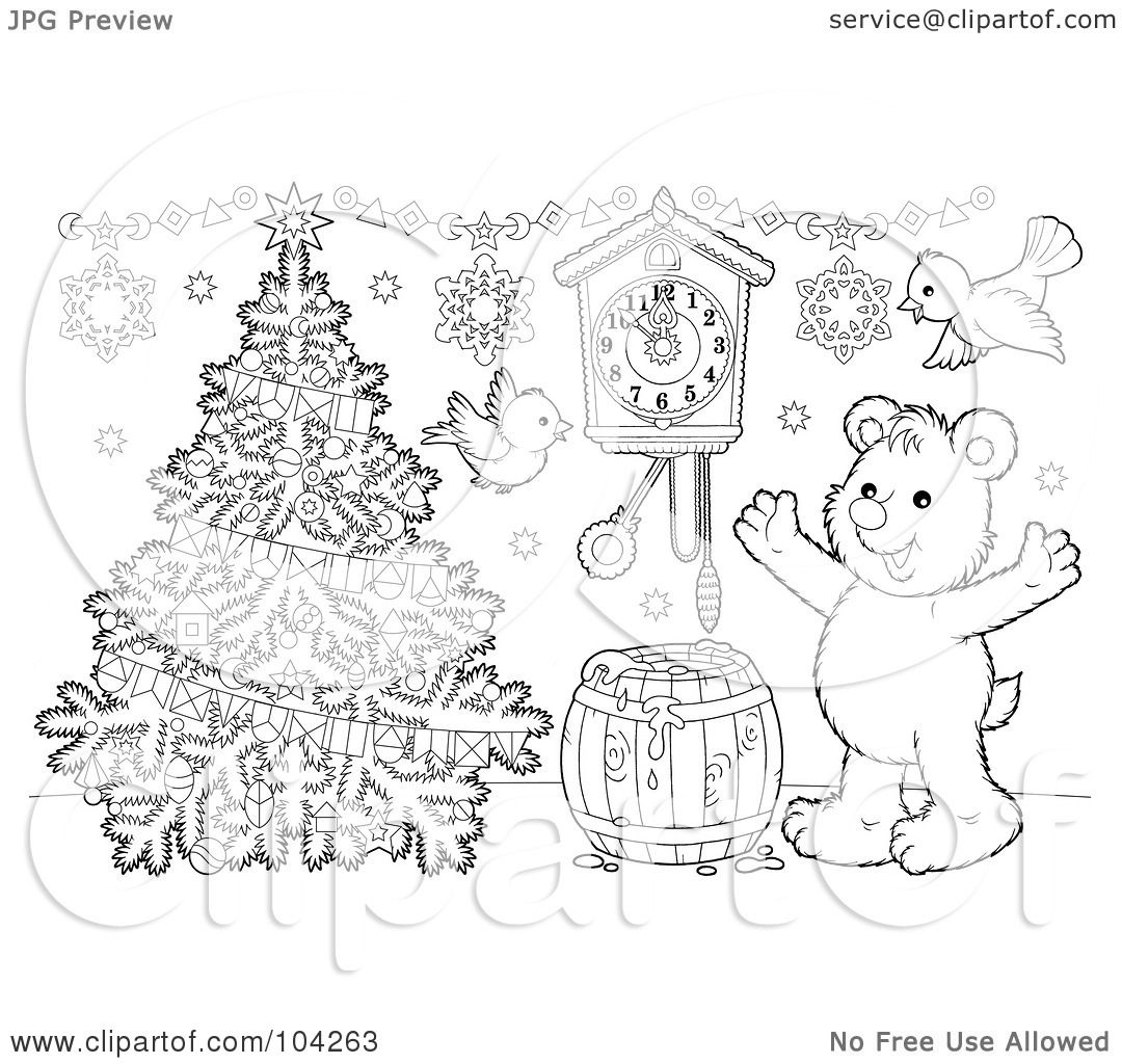 royalty free christmas coloring pages   Royalty-Free (RF) Clipart Illustration of a Coloring Page ...