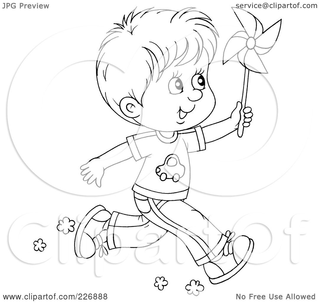 Royalty Free RF Clipart Illustration Of A Coloring Page Outline Boy Running With Pinwheel By Alex Bannykh
