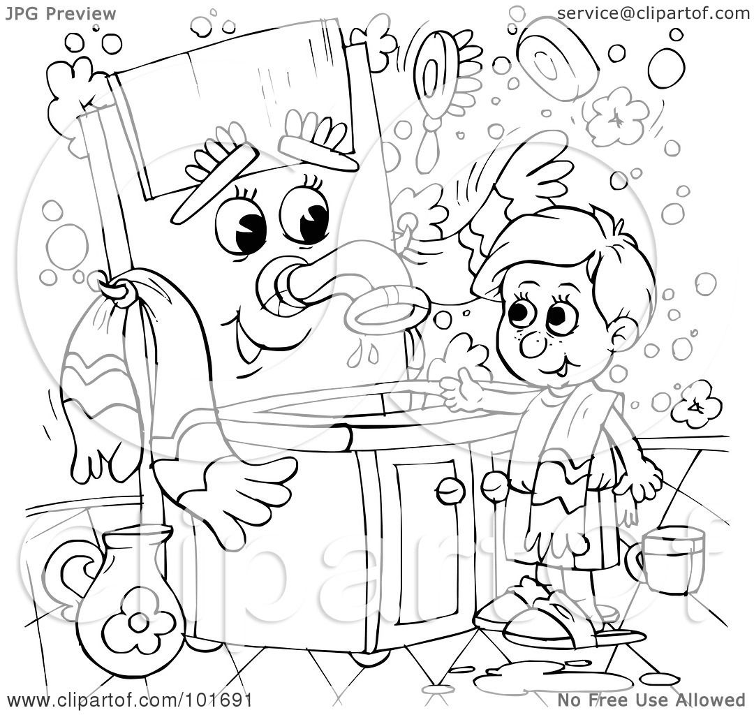 Royalty Free RF Clipart Illustration Of A Coloring Page Outline Boy Talking To Sink By Alex Bannykh