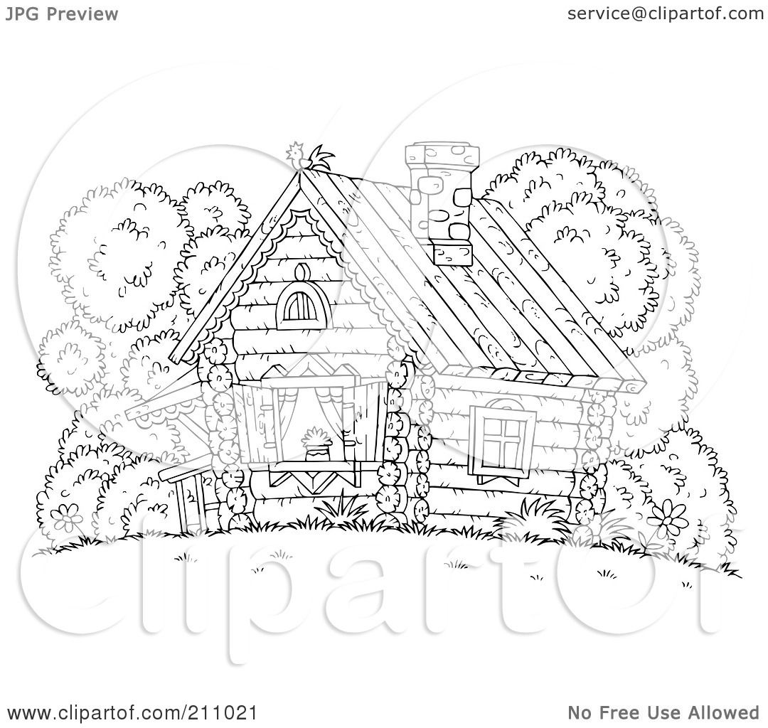 Royalty Free RF Clipart Illustration Of A Coloring Page Outline Chicken Atop Log Cabin By Alex Bannykh