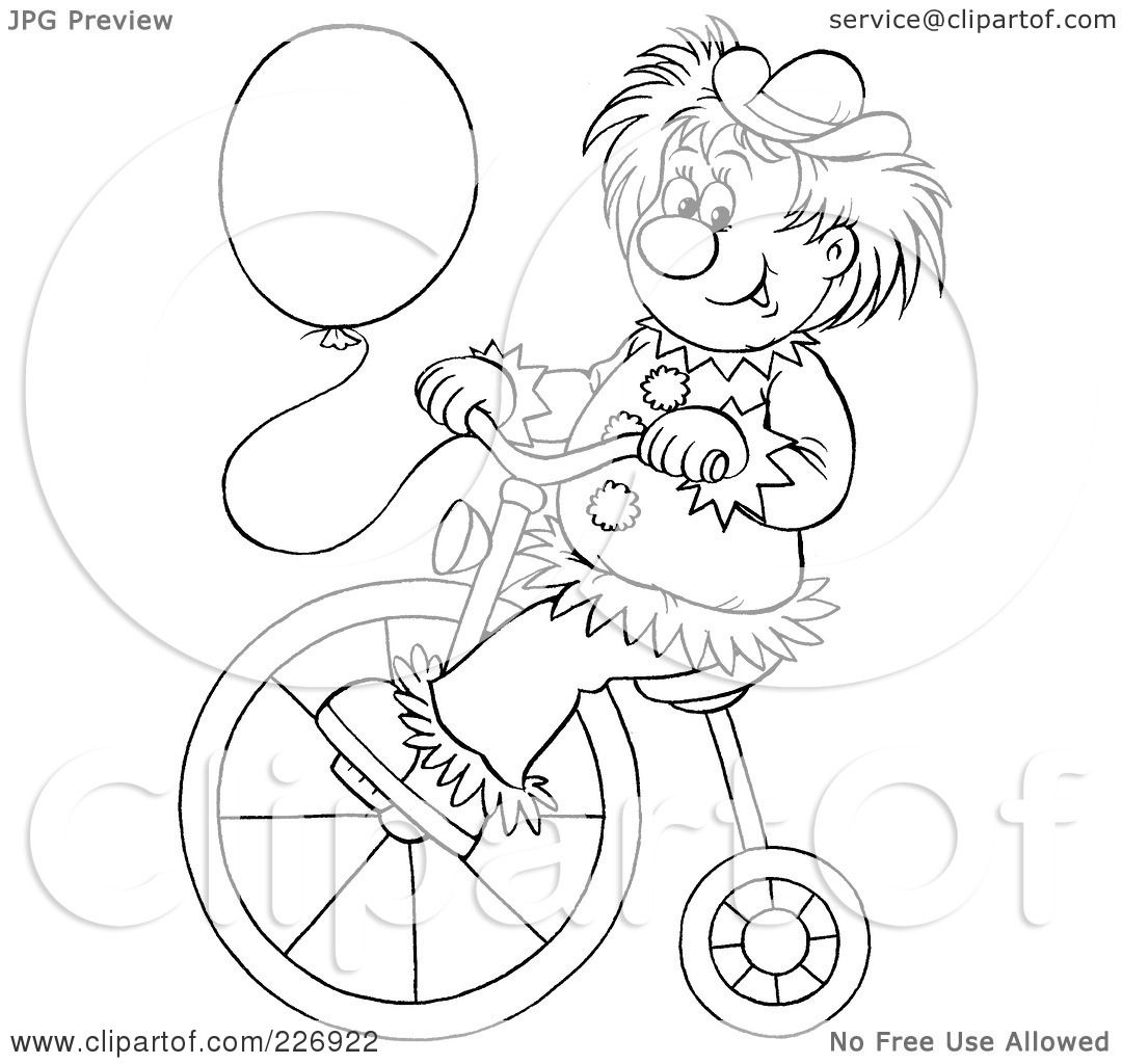 royalty free rf clipart illustration of a coloring page outline of a clown with a balloon riding a bike by alex bannykh - Clown Balloons Coloring Page