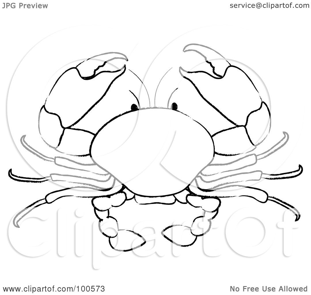 ... Illustration of a Coloring Page Outline Of A Crab by Pams Clipart White Heart Outline No Background