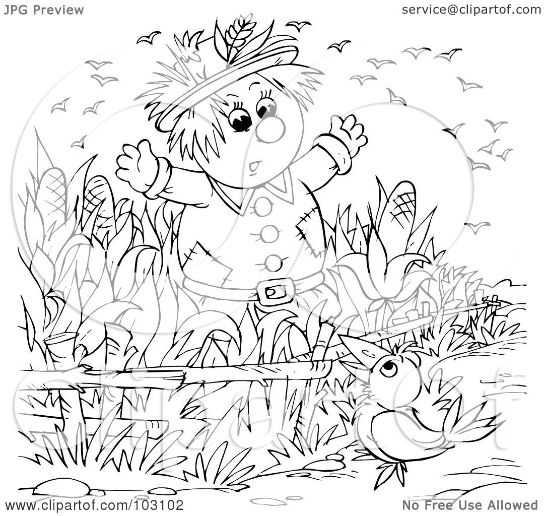 Free coloring pages scarecrows - Royalty Free Rf Clipart Illustration Of A Coloring Page Outline Of A Crow Talking To A Scarecrow By Alex Bannykh