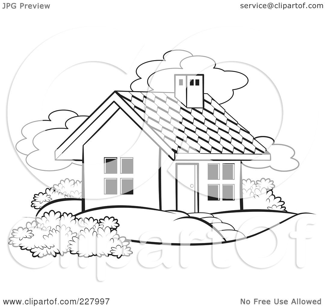 Royalty free rf clipart illustration of a coloring page for How to draw a cute house