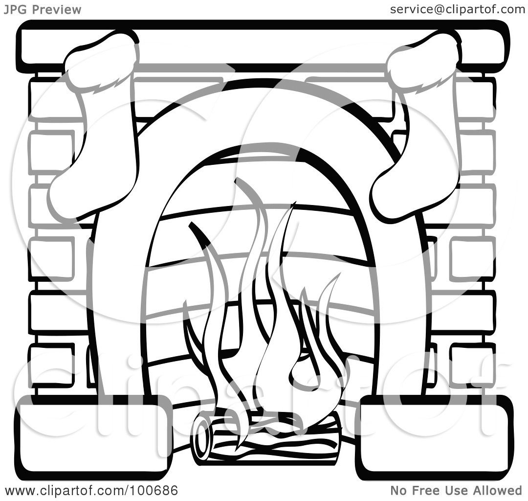 Coloring pages for xmas stockings - Royalty Free Rf Clipart Illustration Of A Coloring Page Outline Of A Fireplace With Two Christmas Stockings By Andy Nortnik