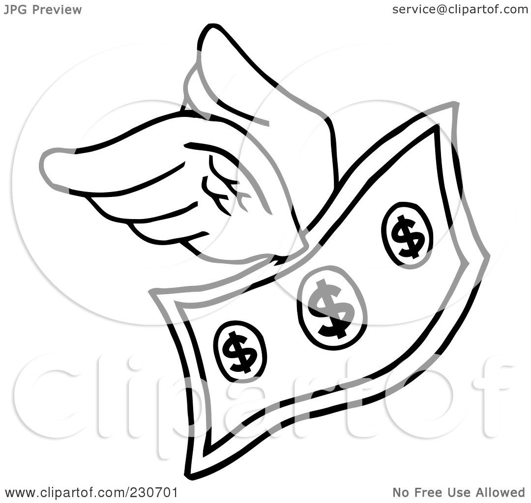 Royalty Free RF Clipart Illustration Of A Coloring Page Outline Flying Dollar Bill By Hit Toon