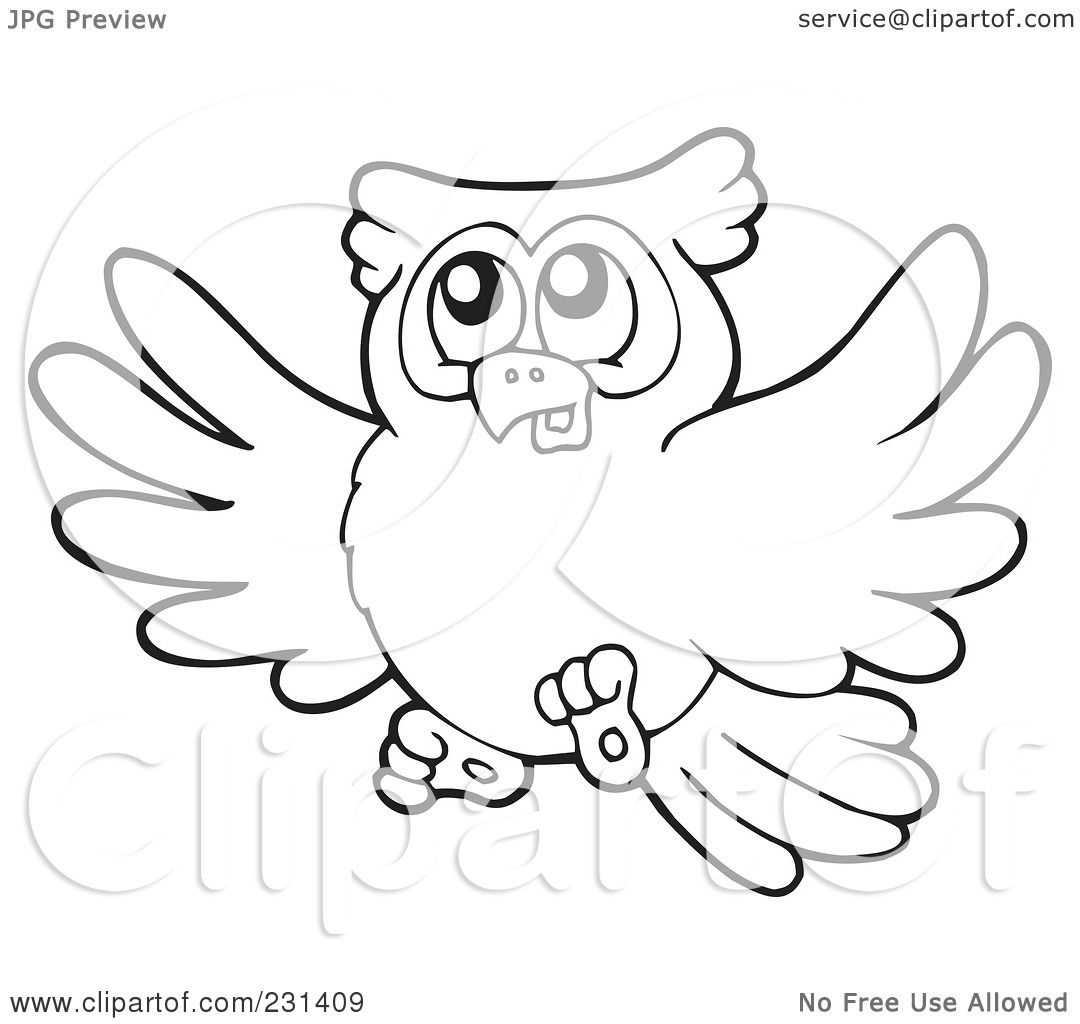 flying owl outline drawing