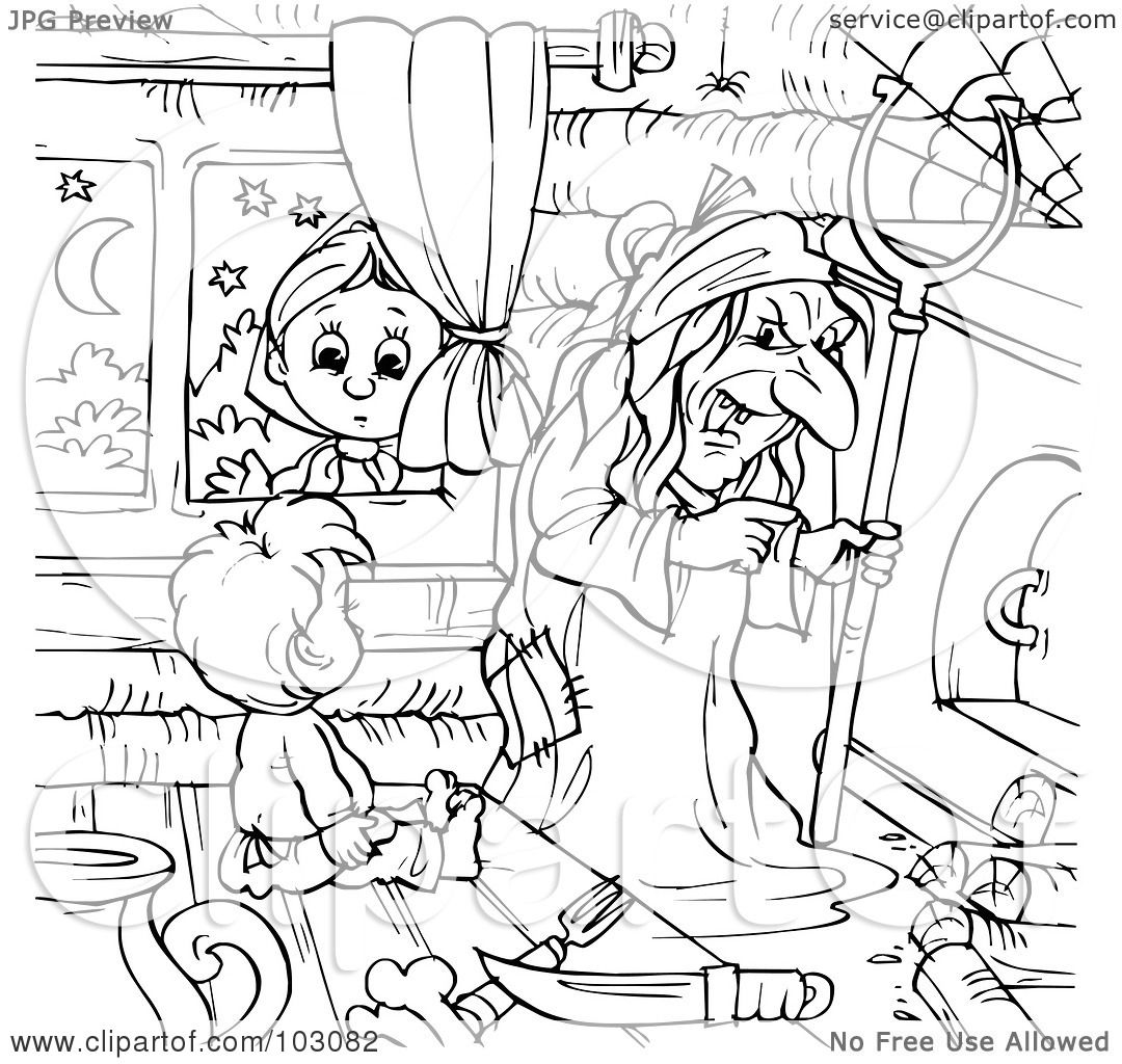 Royalty Free RF Clipart Illustration Of A Coloring Page Outline Girl Peeking In Window At Boy And Witch By Alex Bannykh