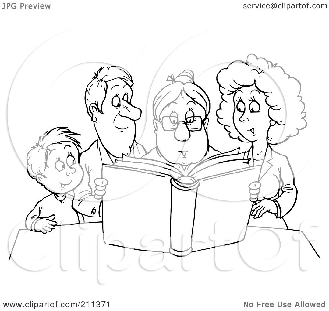 Royalty Free RF Clipart Illustration Of A Coloring Page Outline Granny Reading Story To Family By Alex Bannykh