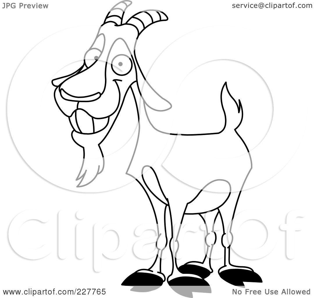 Royalty-Free (RF) Clipart Illustration of a Coloring Page Outline Of ... for happy goat drawing  177nar