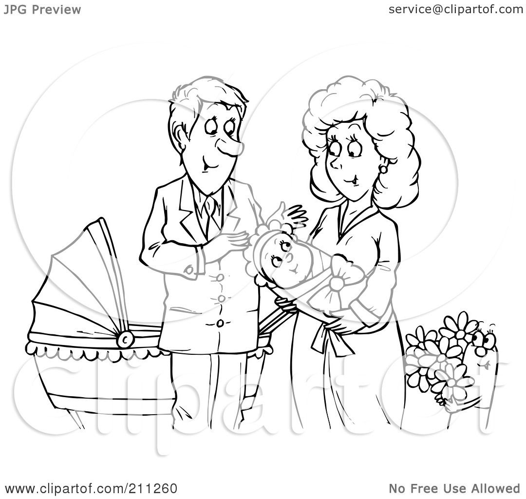 royalty free rf clipart illustration of a coloring page outline of a happy couple with a newborn baby by alex bannykh