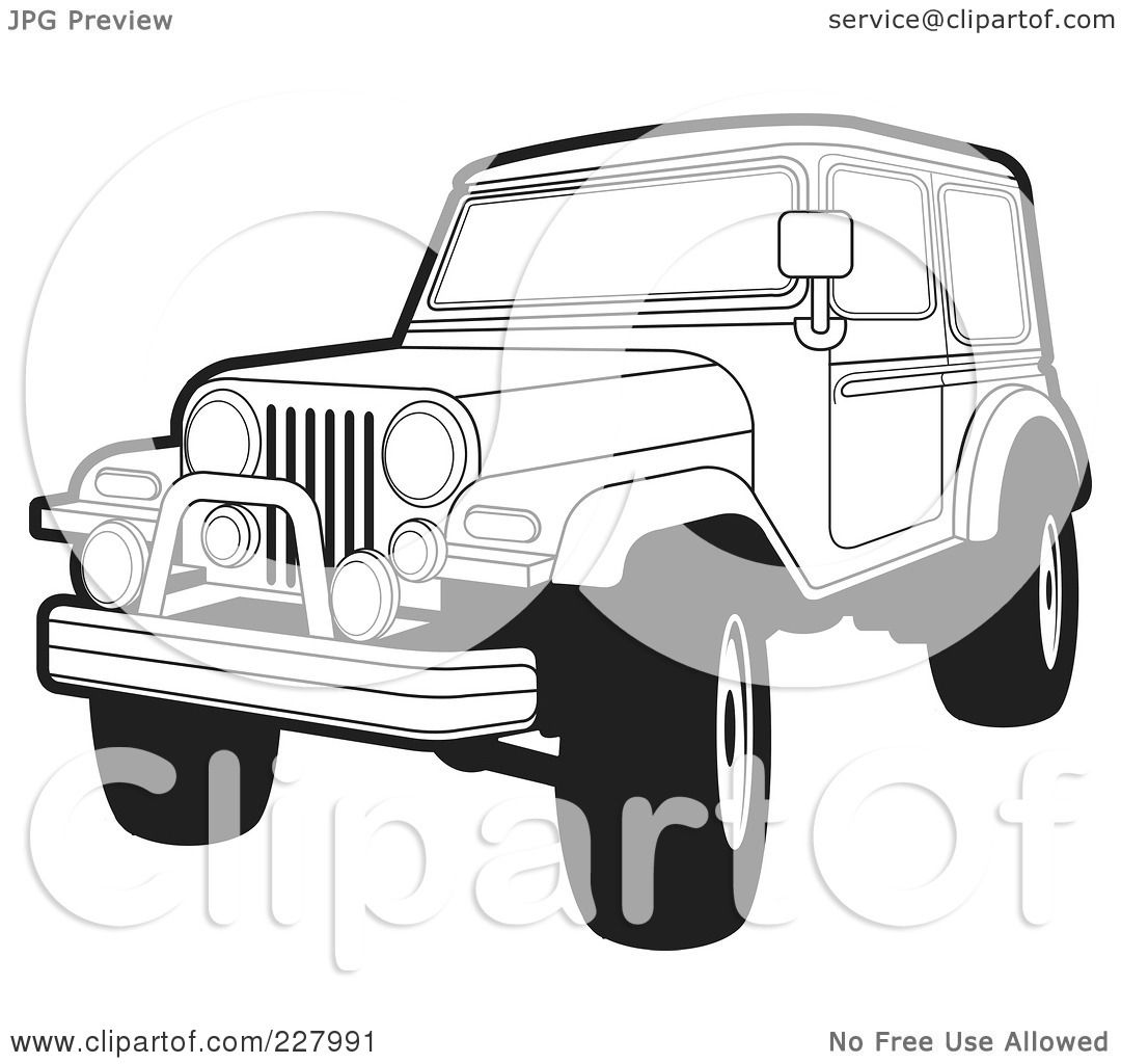 rf clipart illustration of a coloring page outline of a jeep wranglerjeep wrangler outline