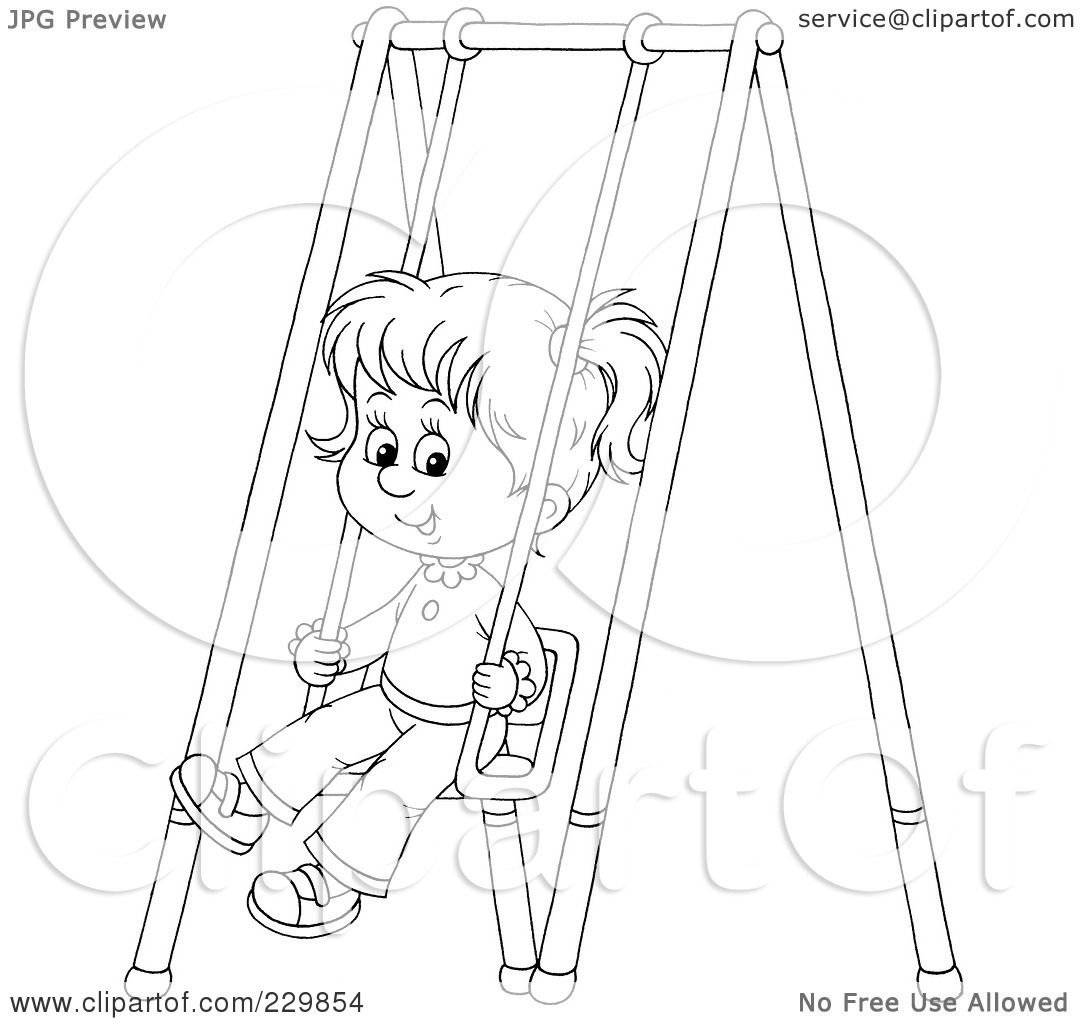 Free coloring pages of slide slide and swing for Swing set coloring page