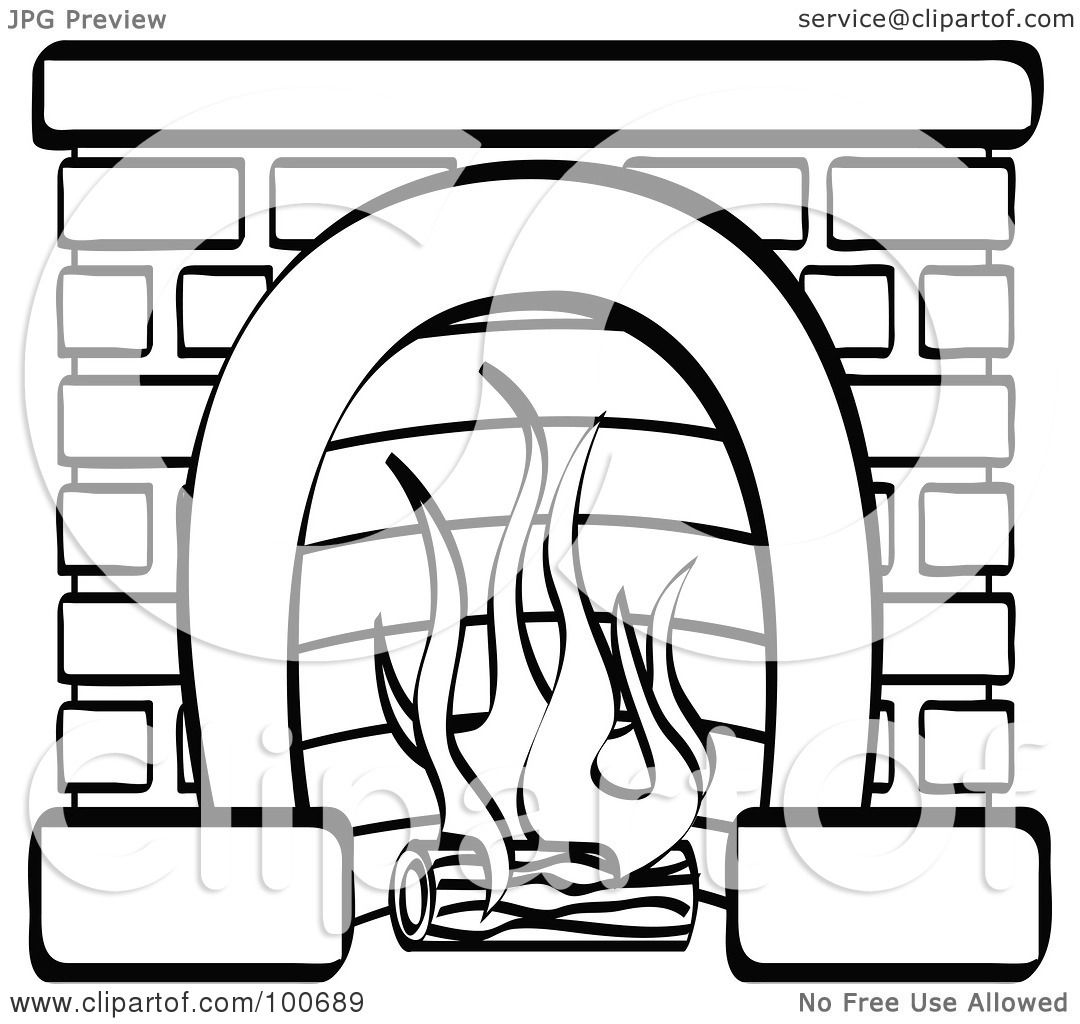 brick fireplace clipart. royaltyfree rf clipart illustration of a coloring page outline log burning in brick fireplace by andy nortnik