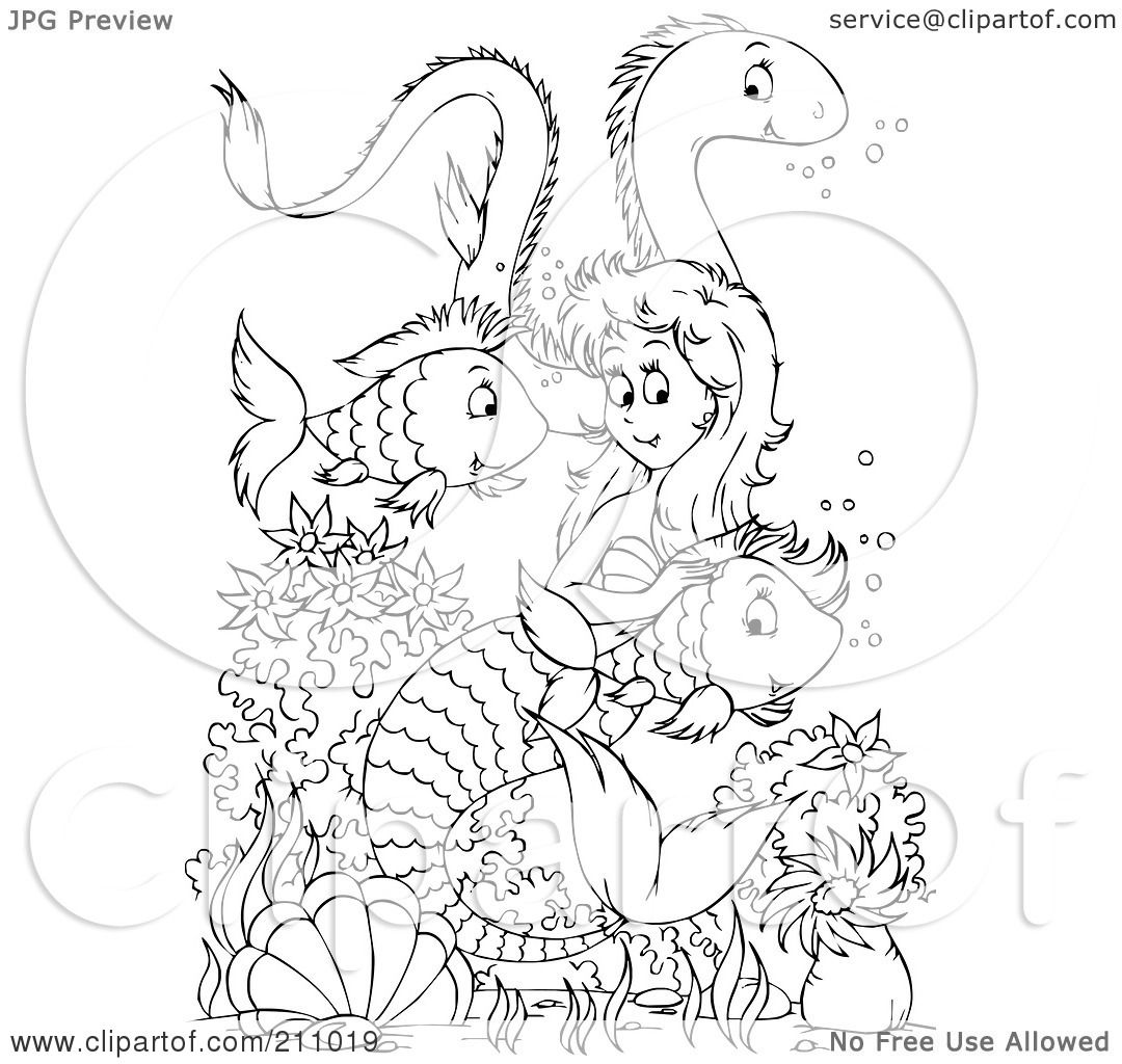 mermaid swimming colouring pages page 2