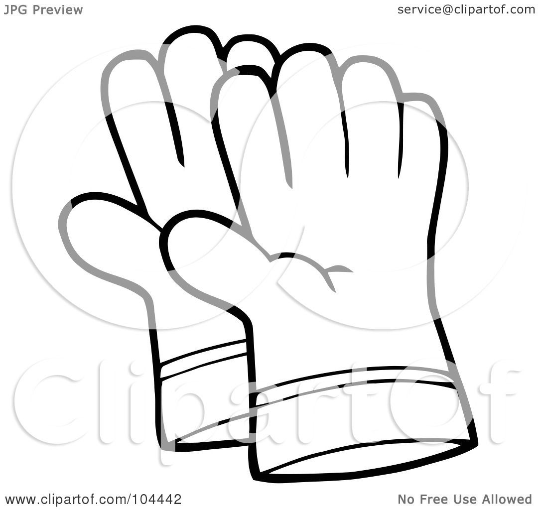 Royalty free rf clipart illustration of a coloring page for Coloring pages of mittens and gloves