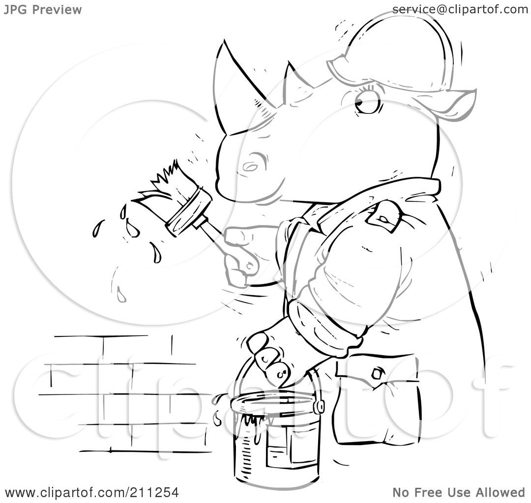 Clip Art Brick Coloring Page royalty free rf clipart illustration of a coloring page outline rhino painting brick wall by alex bannykh
