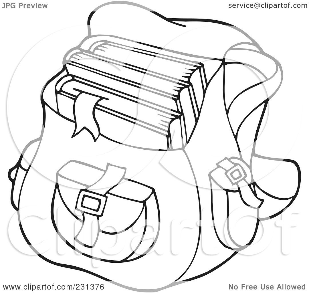 Coloring book bag - Royalty Free Rf Clipart Illustration Of A Coloring Page Outline Of A School Bag By Visekart