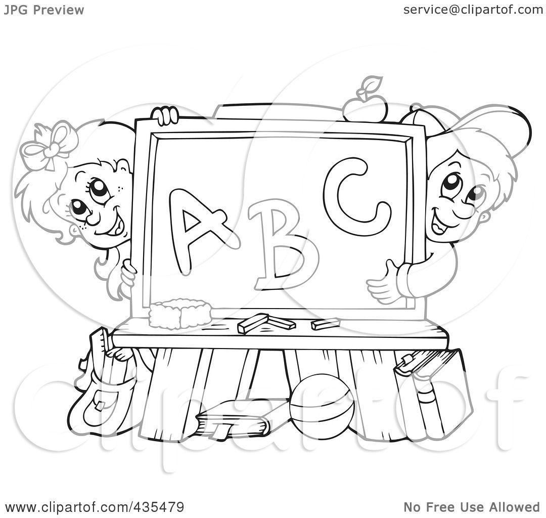 Royalty free rf clipart illustration of a coloring page for Outline of a boy and girl coloring pages