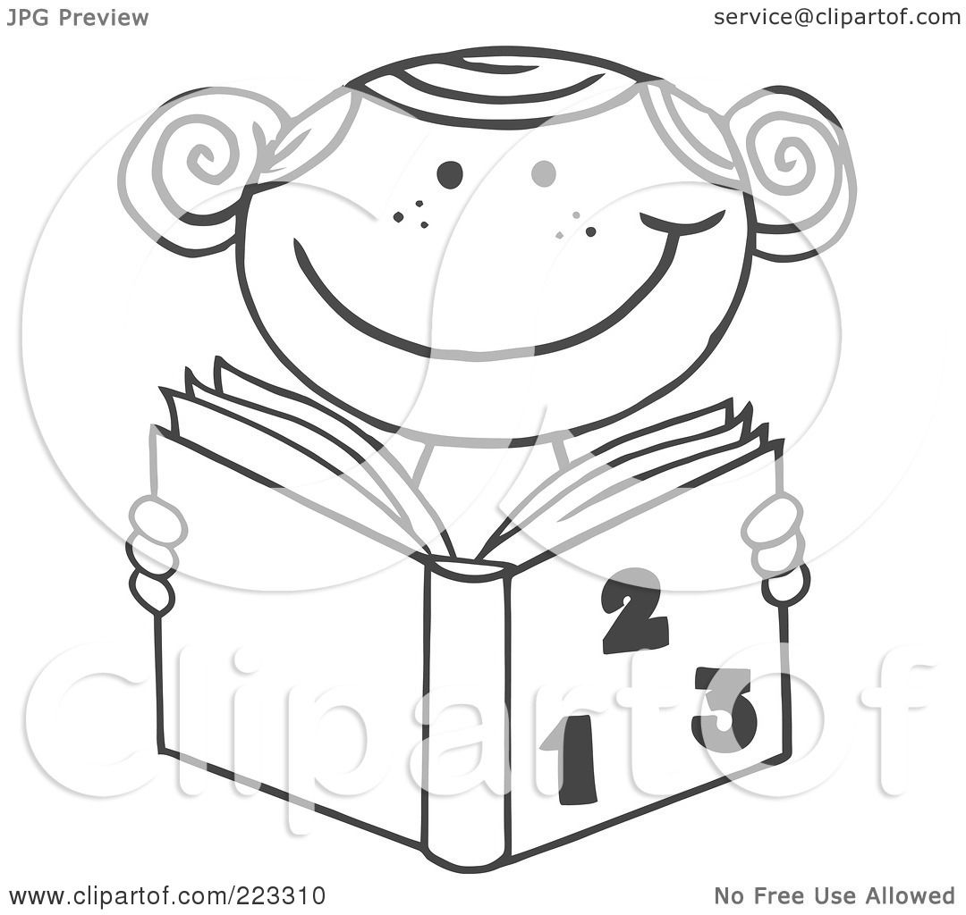 Coloring book outlines - Royalty Free Rf Clipart Illustration Of A Coloring Page Outline Of A School Girl Reading A Math Book By Hit Toon