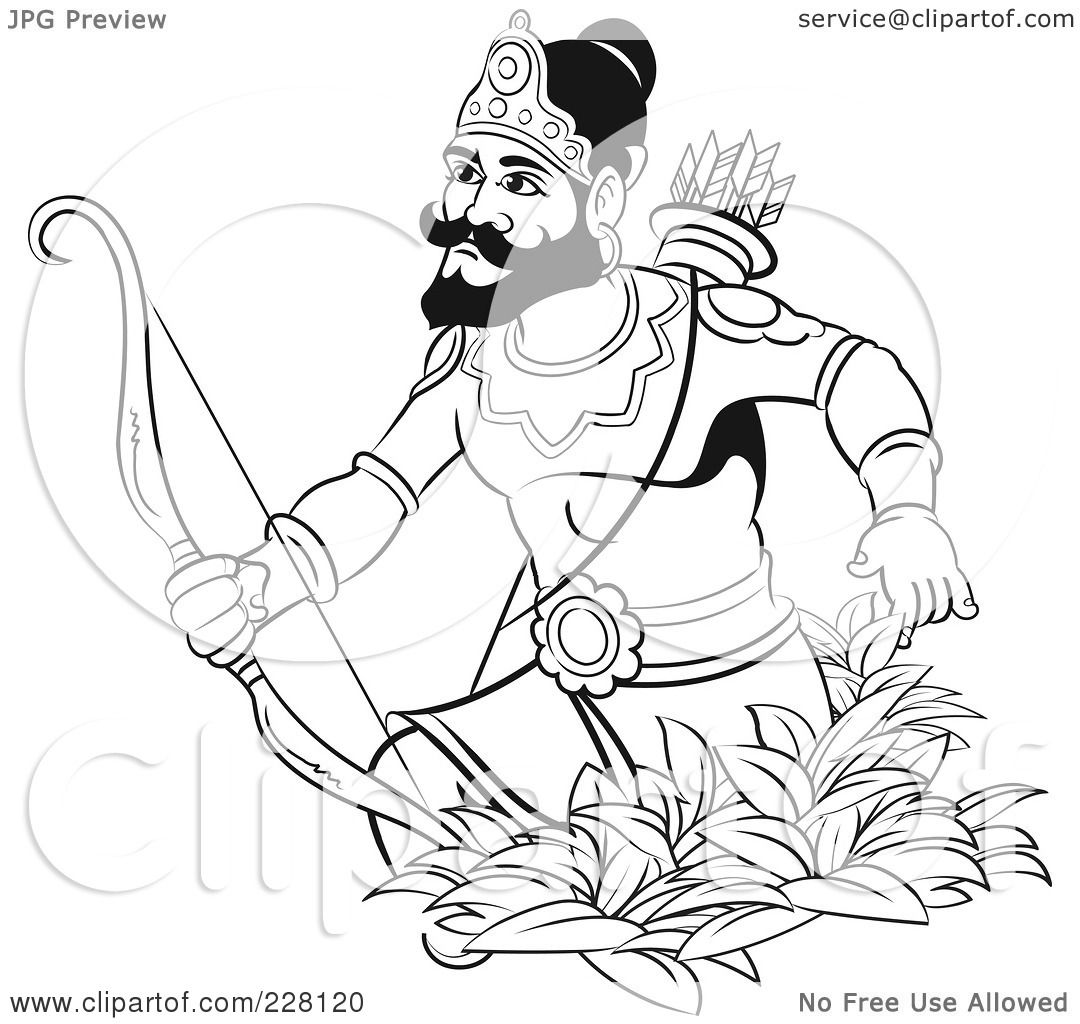 Hunting Bow And Arrow Coloring Pages of a Coloring Page Outline