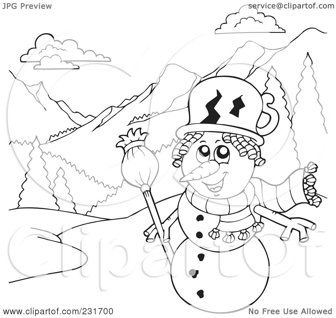 Free coloring pages of snowman outline for Snowy mountain coloring page