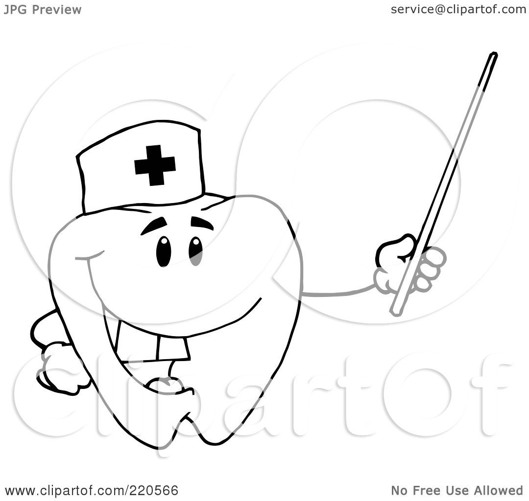 Coloring pages nurse - Royalty Free Rf Clipart Illustration Of A Coloring Page Outline Of A Tooth Character Nurse Holding A Pointer Stick By Hit Toon