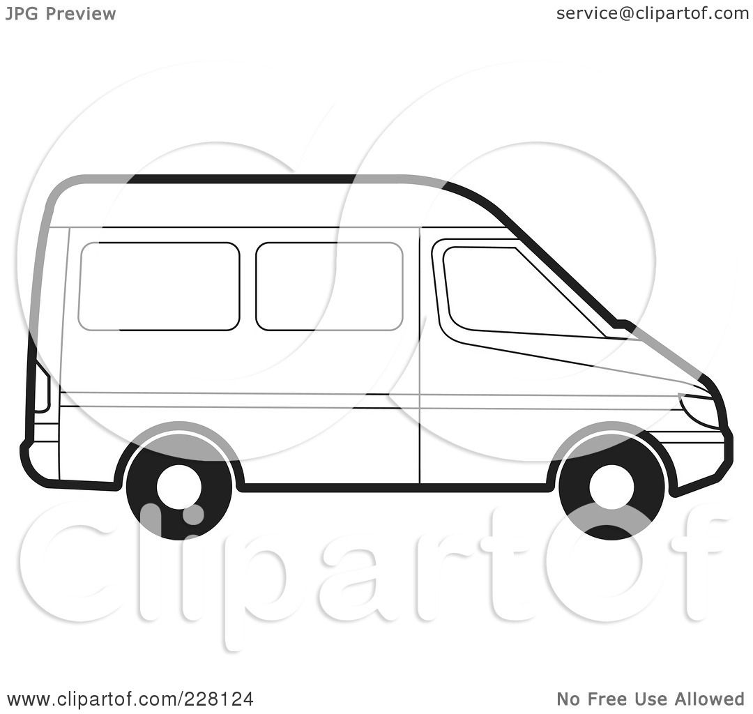 Royalty Free RF Clipart Illustration Of A Coloring Page Outline Van By Lal Perera