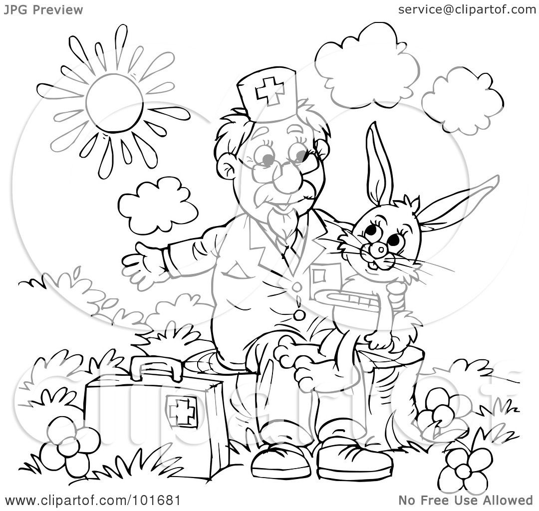 Royalty Free RF Clipart Illustration Of A Coloring Page Outline Veterinarian Helping Sick Rabbit By Alex Bannykh
