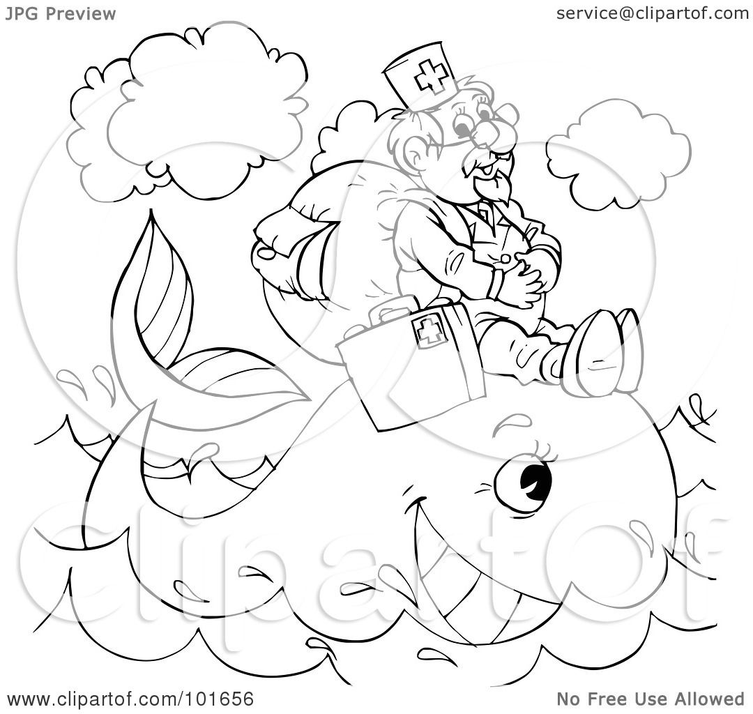 Royalty Free RF Clipart Illustration Of A Coloring Page Outline Veterinarian Helping Whale By Alex Bannykh
