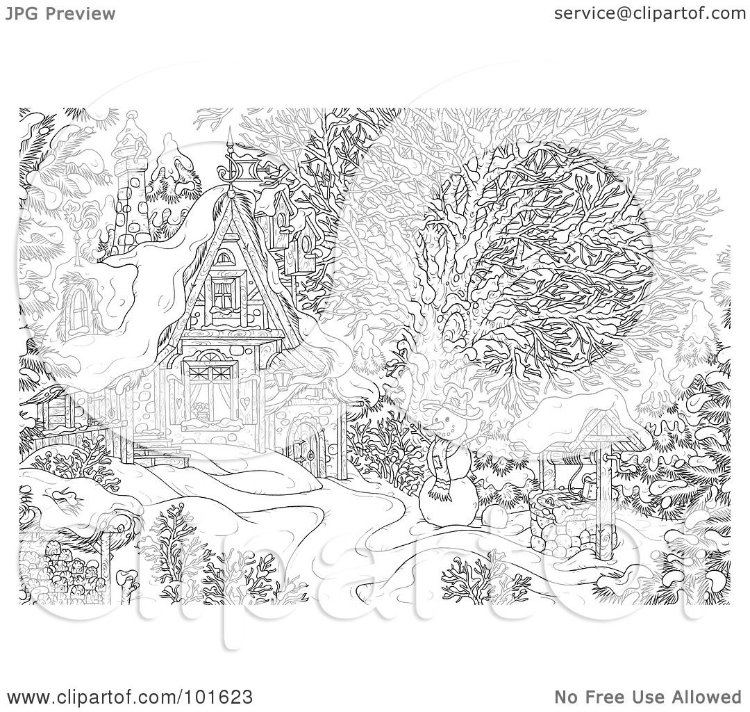Winter Scene Coloring Pages Of a coloring page outline