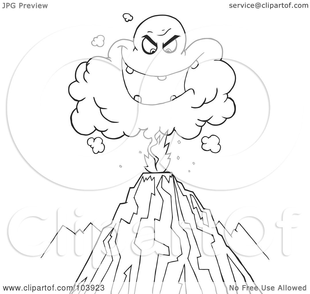 Coloring pages volcano - Royalty Free Rf Clipart Illustration Of A Coloring Page Outline Of An Evil Ash Cloud Above An Erupting Volcano By Hit Toon