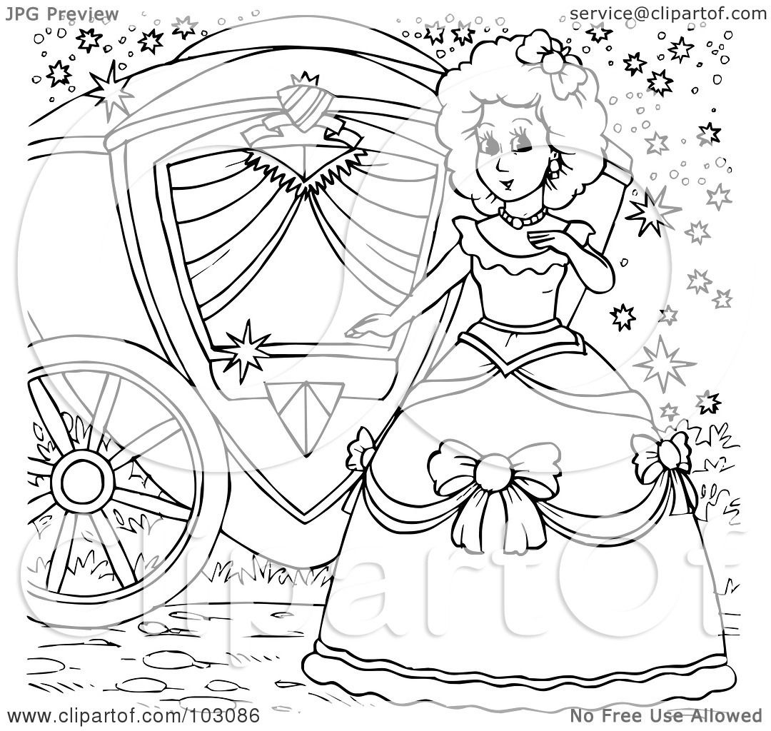 royalty free rf clipart illustration of a coloring page outline of cinderella by her carriage by alex bannykh