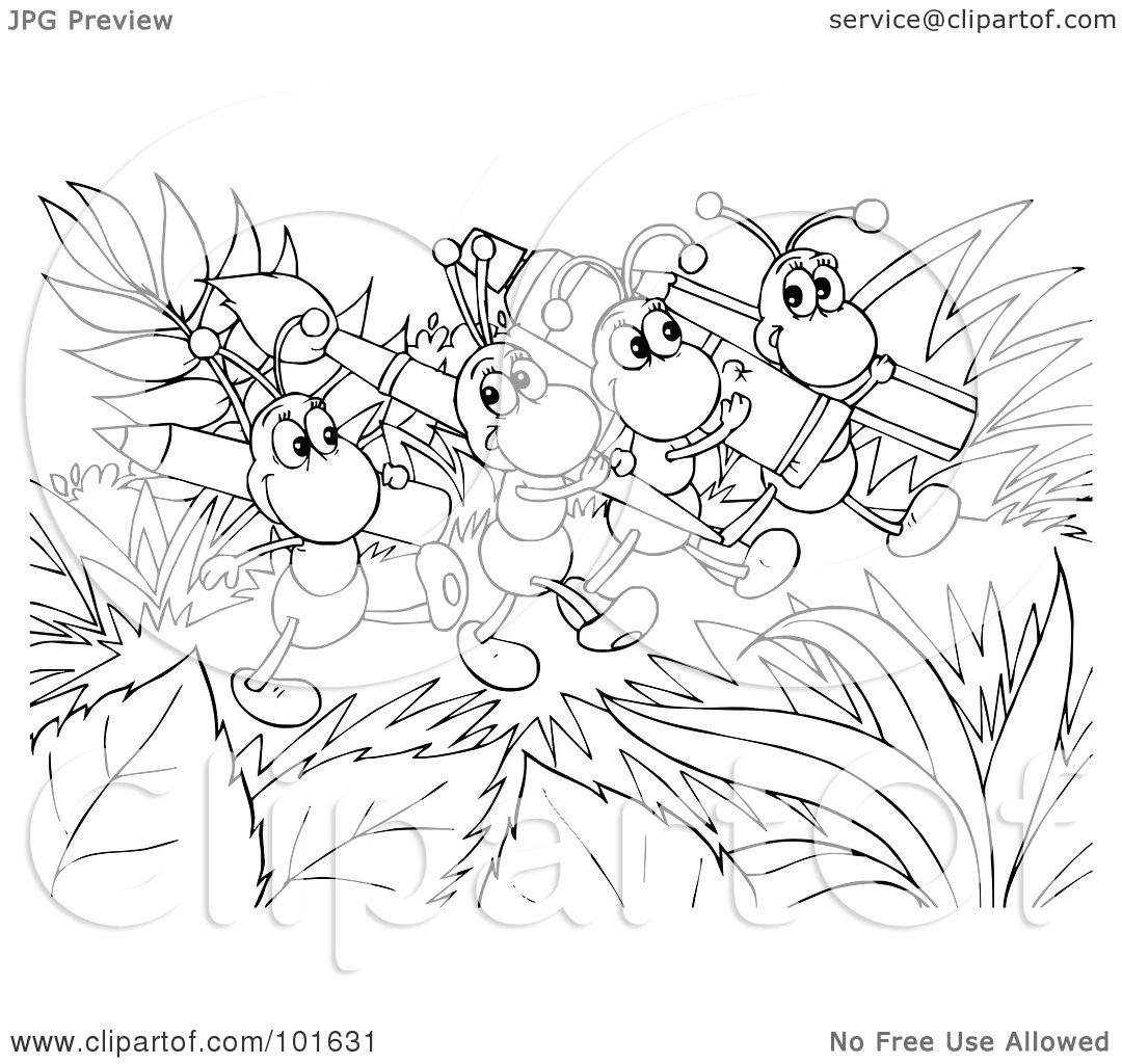 royalty free rf clipart illustration of a coloring page outline of happy ants carrying art supplies by alex bannykh - Ant Coloring Page Black White
